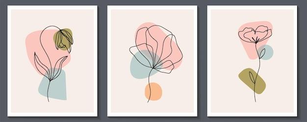 Conjunto de flores arte de linha contínua. colagem contemporânea abstrata de formas geométricas em um estilo moderno e moderno. vetor para o conceito de beleza, impressão de t-shirt, cartão postal, pôster
