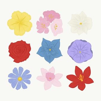 Conjunto de flores bonitas de design plano