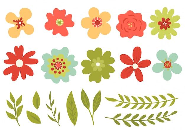 Conjunto de flores bonitos