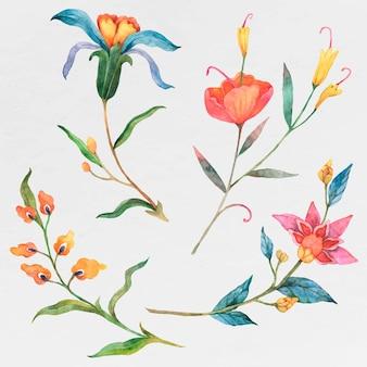 Conjunto de flores coloridas em aquarela