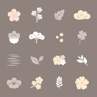 Conjunto de flores coloridas