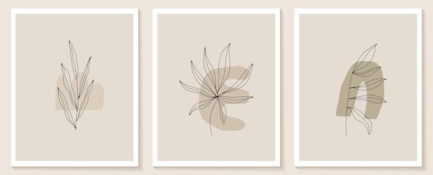 Conjunto de flores contínuas arte de linha resumo colagem contemporânea de formas geométricas em estilo moderno
