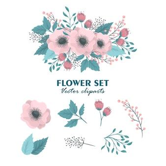 Conjunto de flores cor-de-rosa e florais fofas