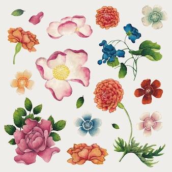 Conjunto de flores da primavera chinesa, remix de obras de arte de zhang ruoai
