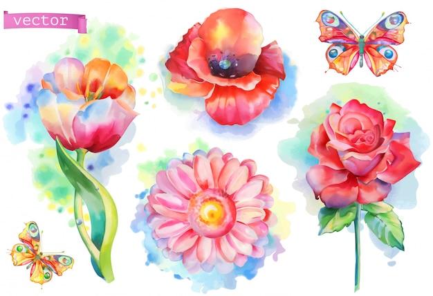 Conjunto de flores da primavera. vetor aquarela