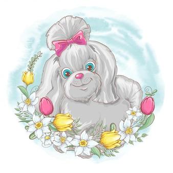 Conjunto de flores de cachorro. mão desenho ilustração