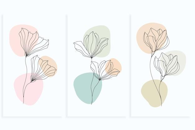 Conjunto de flores de estilo de arte de linha mínimo de desenho de linha única