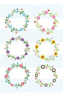 Conjunto de flores de grinalda floral de quadro de flores com ilustração em branco