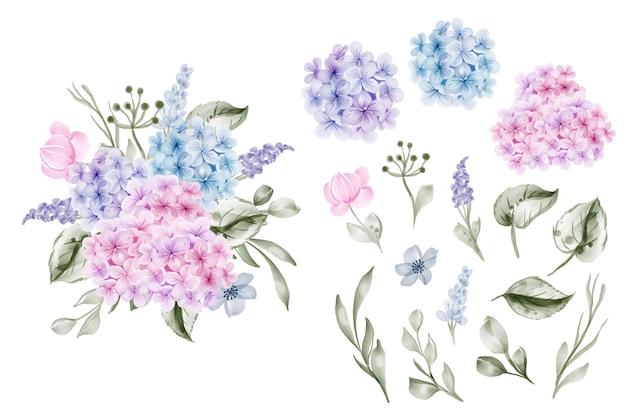 Conjunto de flores de hortênsia rosa azul e clip-art isolado de folhas