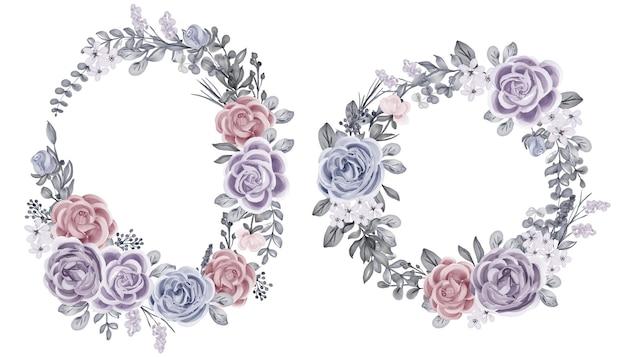 Conjunto de flores de inverno rosa e folhas