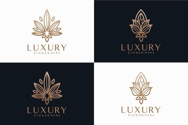 Conjunto de flores de luxo, inspiração de design de logotipo