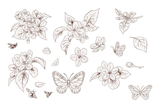 Conjunto de flores de maçã e borboletas