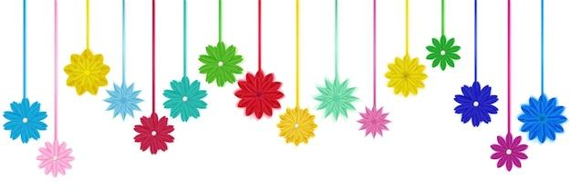 Conjunto de flores de papel colorido com sombras, penduradas em cordas