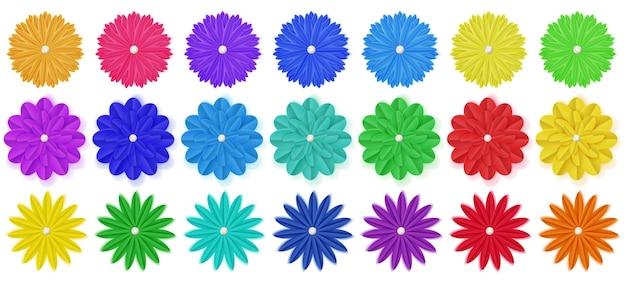 Conjunto de flores de papel colorido com sombras,