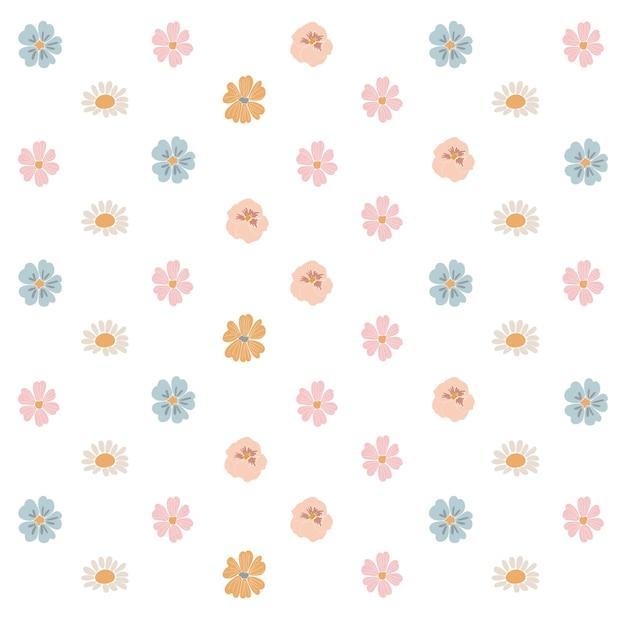 Conjunto de flores de primavera abstrata conjunto de flores boho