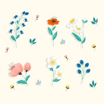 Conjunto de flores de primavera plana