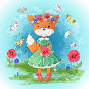 Conjunto de flores de raposa. mão, desenho, vetorial, ilustração