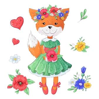 Conjunto de flores de raposa.
