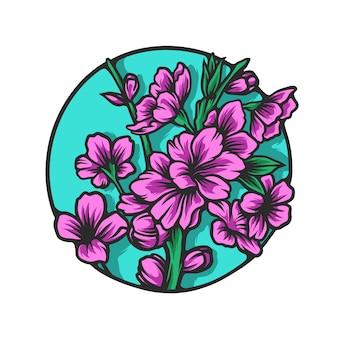 Conjunto de flores de sakura ilustração