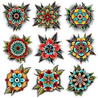 Conjunto de flores de tatuagem da velha escola