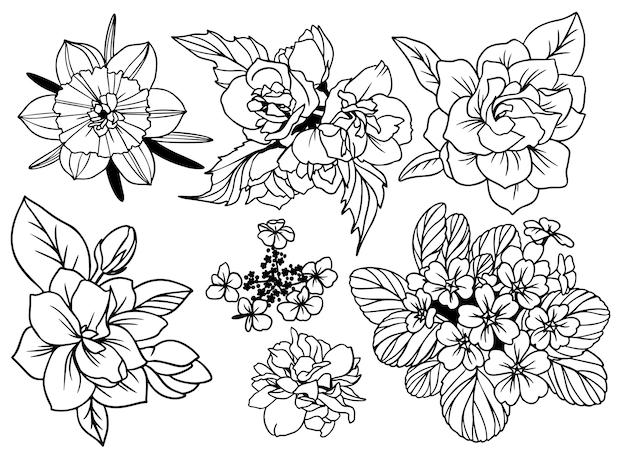 Conjunto de flores de vista superior com folhas