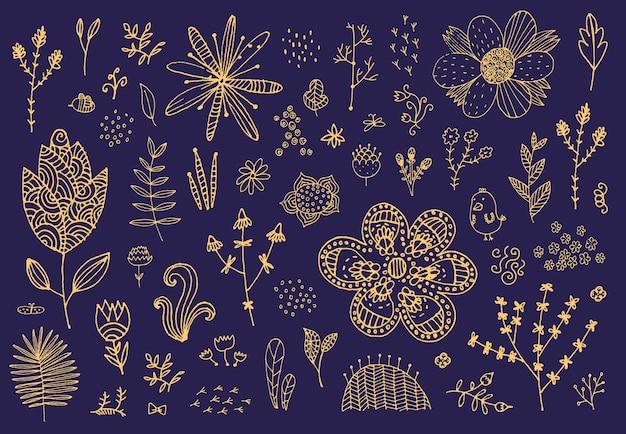 Conjunto de flores desenhadas à mão doodle