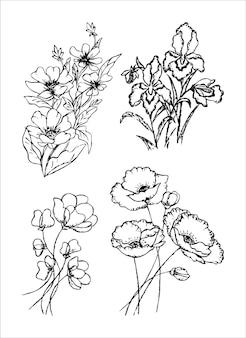 Conjunto de flores desenhadas à mão