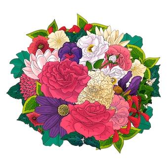 Conjunto de flores diferentes no estilo de desenho do doodle. desenhado à mão