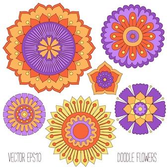 Conjunto de flores doodle