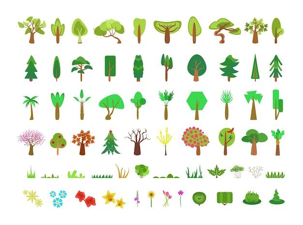 Conjunto de flores e árvores planas simples