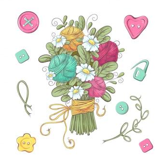 Conjunto de flores e elementos feitos à mão de malha