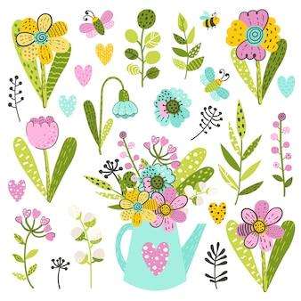 Conjunto de flores e ervas coloridas