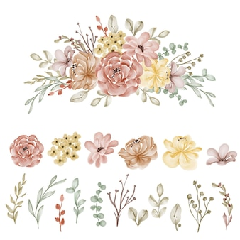 Conjunto de flores e folhas de outono clip-art isolado