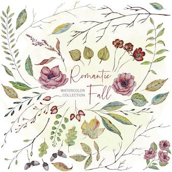 Conjunto de flores e folhas em aquarela de outono