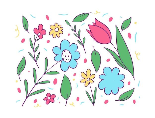 Conjunto de flores e folhas verdes. estilo de desenho animado.