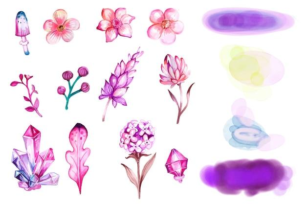 Conjunto de flores e gemas em aquarela