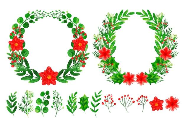 Conjunto de flores e grinalda de decorações de natal