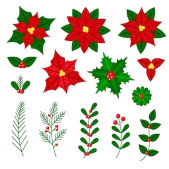 Conjunto de flores e grinaldas de natal de design plano