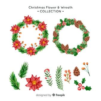 Conjunto de flores e guirlandas de natal
