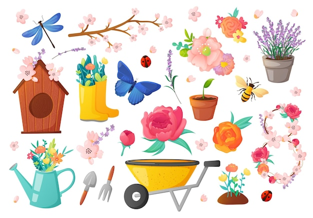 Conjunto de flores e objetos de jardinagem na primavera
