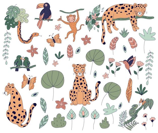Conjunto de flores e plantas de animais da selva
