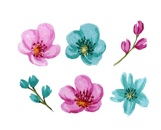 Conjunto de flores em aquarela de cores brilhantes lindas. flor rosa e turquesa, isolada no fundo branco.