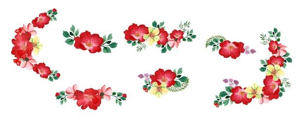 Conjunto de flores em aquarela de desenho à mão