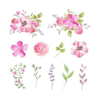 Conjunto de flores em aquarela e folhas em tons rosados