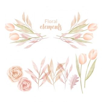 Conjunto de flores em aquarela e folhas.