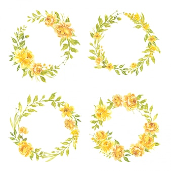Conjunto de flores em aquarela ilustração de grinalda floral pintada à mão buquê de flores rosa amarela