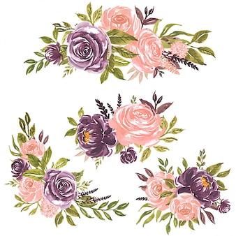 Conjunto de flores em aquarela ilustração floral pintada à mão buquê de flores rosa e roxo