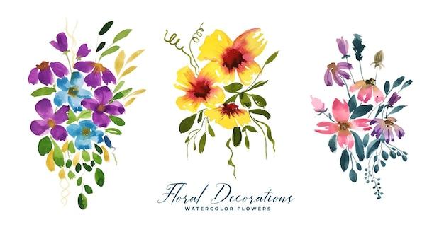 Conjunto de flores em aquarela para cartão de casamento