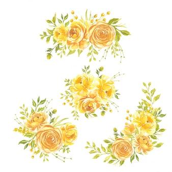 Conjunto de flores em aquarela pintados à mão ilustração floral buquê de flores rosa amarela