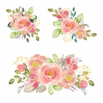 Conjunto de flores em aquarela premium